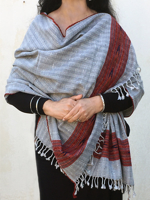 Fine, Soft Himachal Wool Striped Stole With Woven Border