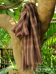 Fine, Soft Kashmiri Wool Muffler, Brown Checks