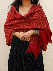 Fine, Soft Wool Kashmiri - Sozni Hand Embroidered Stole