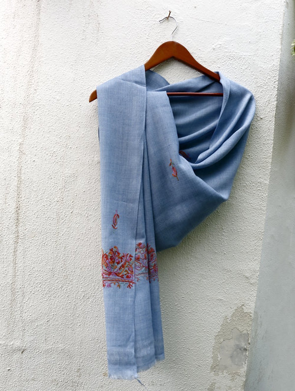 Fine, Soft Wool Kashmiri Hand Embroidered Stole - The India Craft House