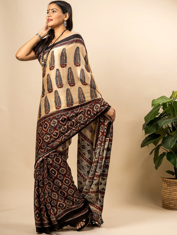 Flowing & Graceful Ajrakh Block Printed Modal Silk Saree (With Blouse Piece)