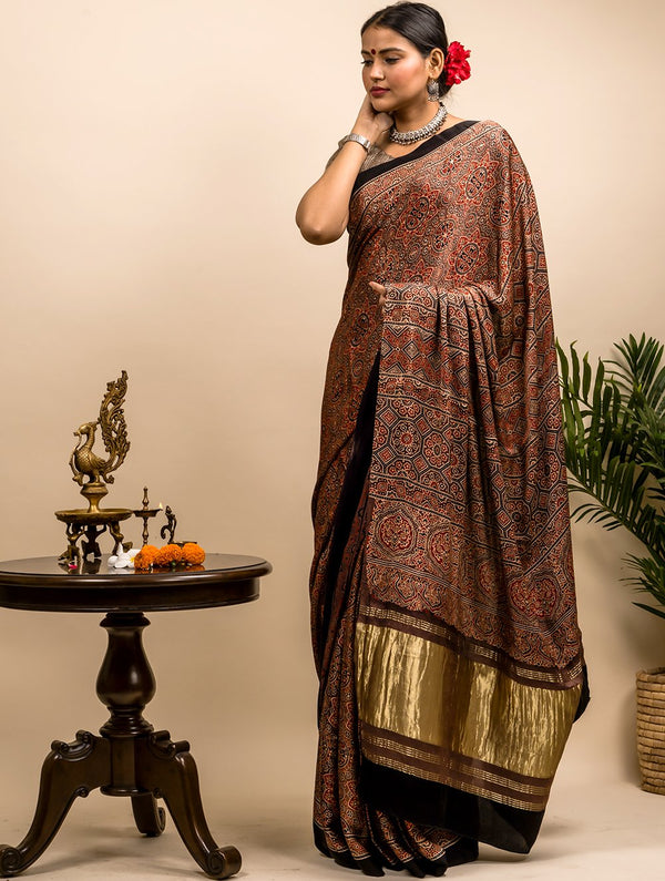 Flowing & Graceful Ajrakh Modal Silk Saree with Zari Pallu (With Blouse Piece)