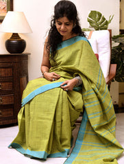 Fresh & Summery. Handloom Khadi Cotton Andhra Saree (With Blouse Piece)