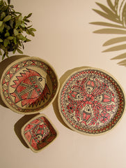 Madhubani Art Papier Mache - Multi-Utility Desk Set (Set of 3)