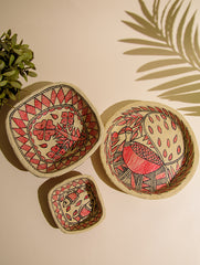 Madhubani Art Papier Mache - Multi-Utility Baskets & Tray (Set of 3)