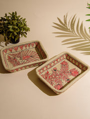 Madhubani Art Papier Mache - Multi-Utility Trays (Set of 3)