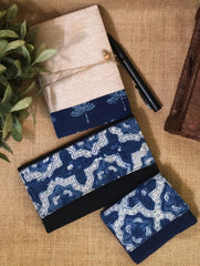 Gift Set - Ajrakh Cotton Long Wallet, Small Wallet and Doodle Diary (Set of 3)