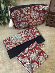 Gift Set - Block Print Cotton Utility Pouch, Wallet & Coin Pouch (Set of 3)