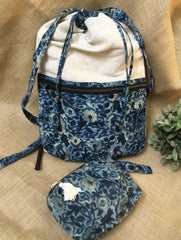Gift Set - Block Print Cotton Handloom Backpack & Cosmetic Pouch (Set of 2)