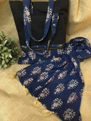 Gift Set - Block Print Cotton Tote Bag & Stole (Set of 2)