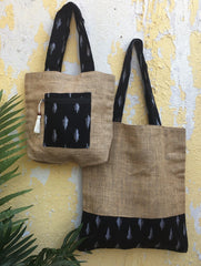 Gift Set - Handloom Cotton & Ikat Multi-utility Tote Bags (Set of 2)