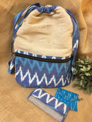 Gift Set - Ikat Jute Backpack, Ikat Wallet & Coin Pouch (Set of 3)