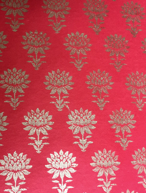 Gift Wrapping Paper - Red & Gold - The India Craft House