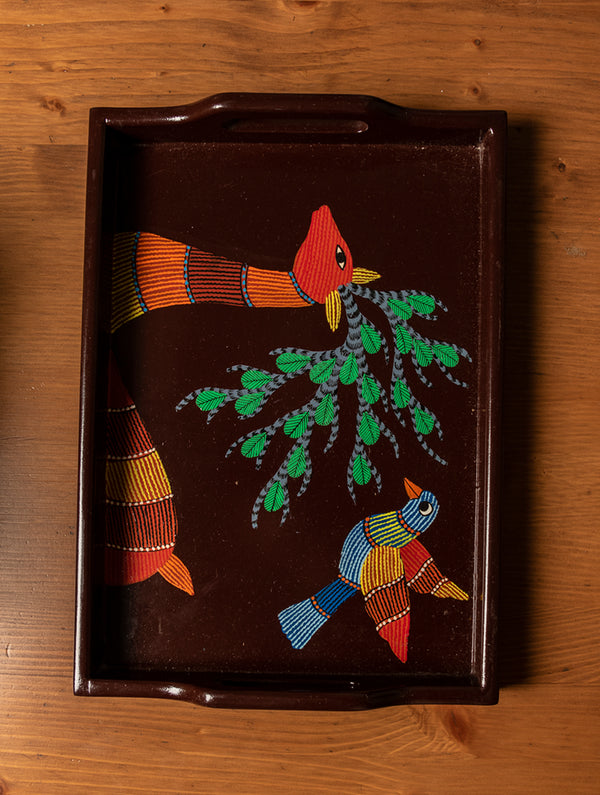 Gond Art - Painted Wooden Tray - The India Craft House