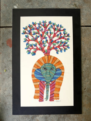 Gond Art Painting on Silk with Mount - The India Craft House 1