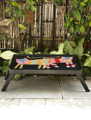 Gond Art Hand Painted Tray Table - The India Craft House 1