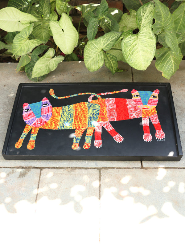 Gond Art Hand Painted Tray Table - The India Craft House