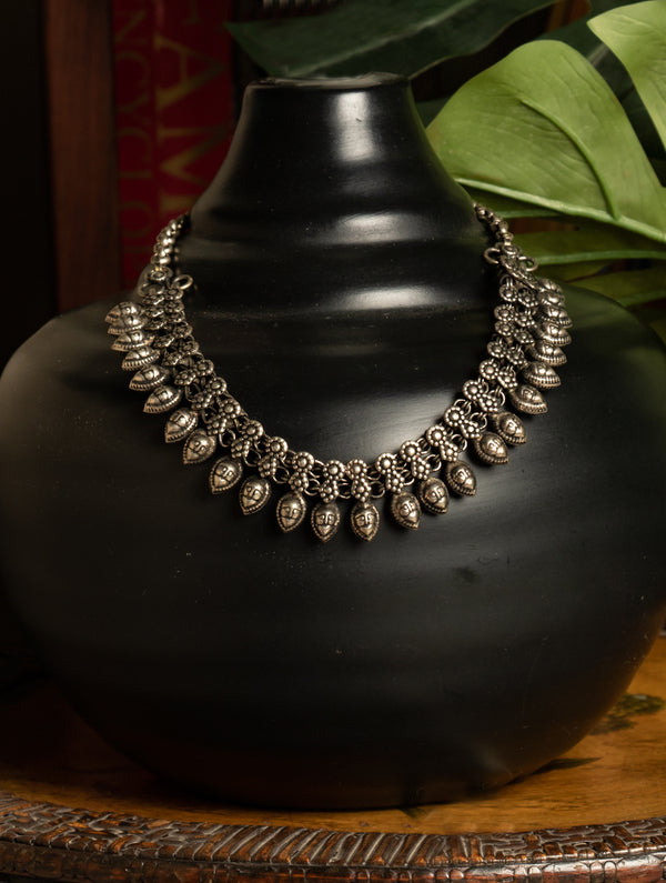 Silver Finish Traditional Neckpiece - The India Craft House