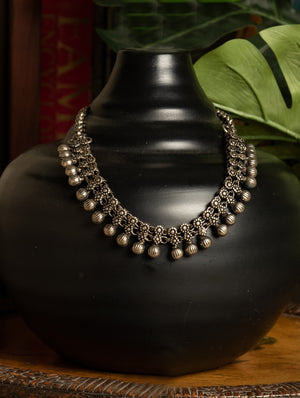 Silver Finish Traditional Necklace Heavy