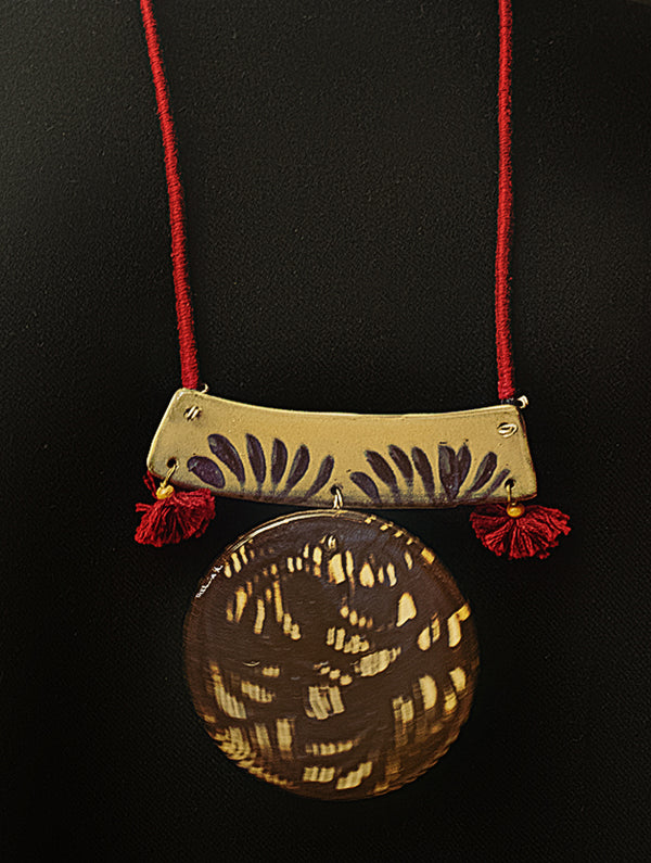 Hand-Crafted Ceramic Pendant on Thread - Nerikomi - The India Craft House