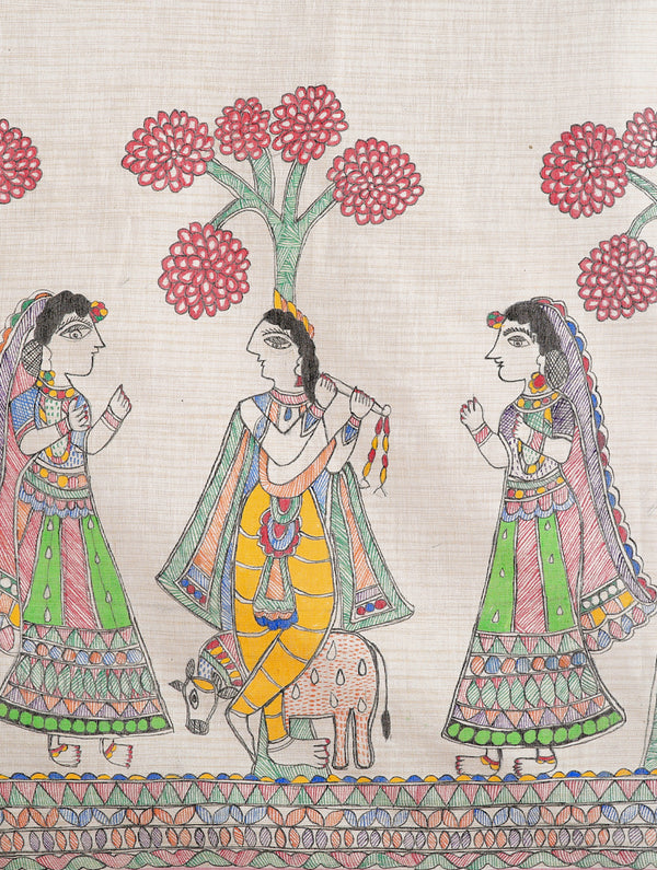 Cotton Silk Madhubani Dupatta with Woven Colored Border - Krishna with Gopis - The India Craft House