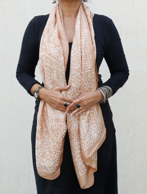 Hand Printed Batik - Pure Silk Stole - The India Craft House