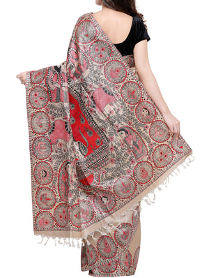 Hand painted Madhubani saree - Goddess Durga in all her might - TSMS08