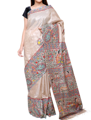 Hand painted Madhubani saree - mythological scene - TSMS03