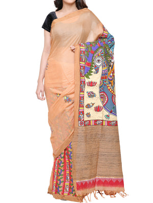Hand painted Madhubani saree - traditional Radha - Krishna theme - MSMS06