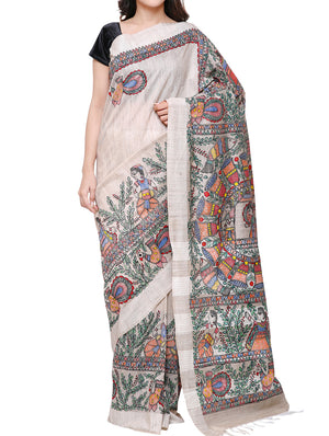 Hand painted Madhubani saree - traditional _doli_ and _kahar_ motif - CSMS300