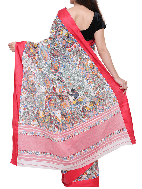 Hand painted Madhubani saree - traditional khobar - The India Craft House