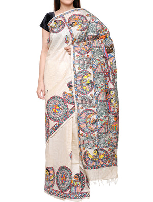 Hand painted Madhubani saree - traditional khobar - TSMS04