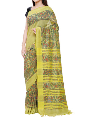 Hand painted Madhubani saree - traditional motifs of peacocks, flowers, fish - CSMS301 3