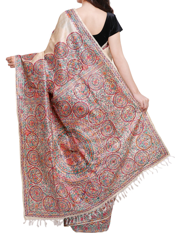 Hand painted Madhubani saree - traditional motifs of peacocks, flowers, fish - The India Craft House