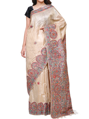 Hand painted Madhubani saree - traditional motifs of peacocks, flowers, fish - TSMS07