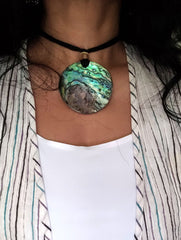 Handcrafted Abalone Shell Pendant on Thread - Round