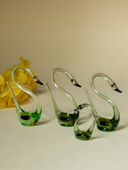 Handcrafted Blown Glass Craft Swans (Set of 4)