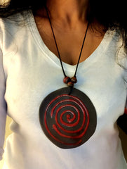 Handcrafted Ceramic Pendant on Thread - Round with Spiral