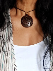 Handcrafted Coconut Shell Pendant on Thread - Flower