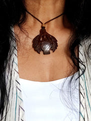 Handcrafted Coconut Shell Pendant on Thread - Leaves