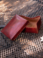 Handcrafted Leather Box With Hand Stitch Detail