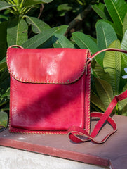 Handcrafted Leather Cross-Body Bag With Hand Stitch Detail
