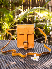 Handcrafted Leather Cross Body Bag With Hand Stitch Detail