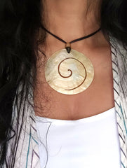 Handcrafted Shell Pendant on Thread - Spiral