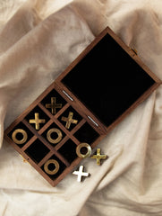 Handcrafted Wood & Brass Tic Tac Toe Game With Box