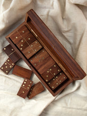 Handcrafted Wooden Dominoes Game With Box
