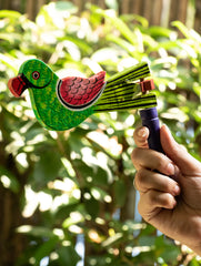Handcrafted Wooden Kit Kat Sound Toy - Twirling Parrot