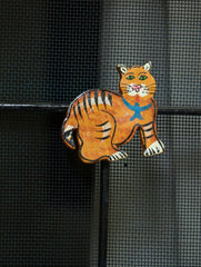 Handcrafted Wooden Magnet - Cat