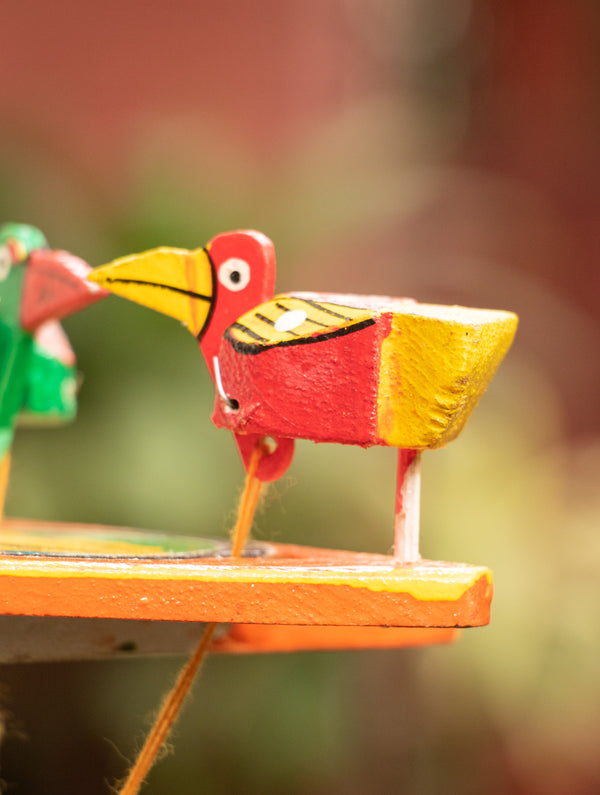 Handcrafted Wooden Moving Toy - Birds Feeding (Small) - The India Craft House