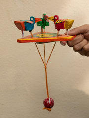 Handcrafted Wooden Moving Toy - Birds Feeding (Small)
